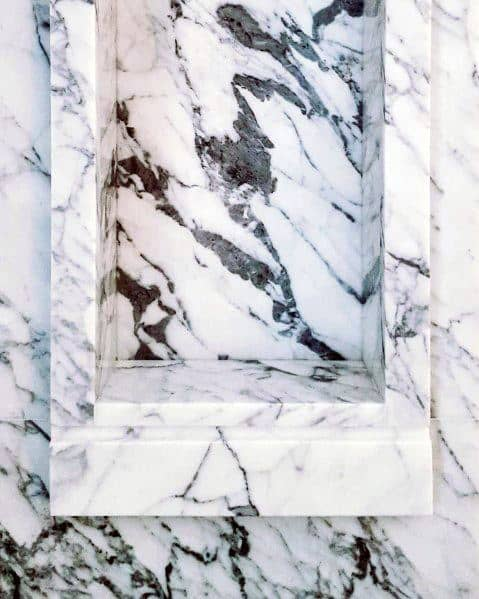 White Solid Marble Built In Shower Niche Shelves Ideas