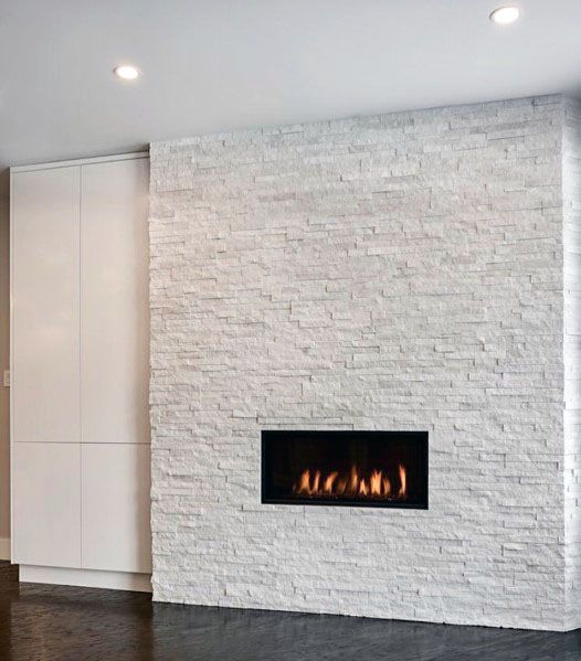 White Stacked Stone Fireplace Ideas