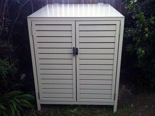White Steel Container Pool Equipment Enclosure Ideas