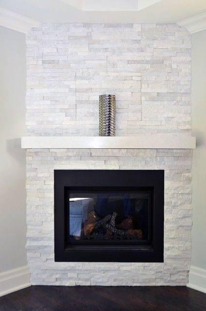 White Stone Corner Fireplace Design Contemporary