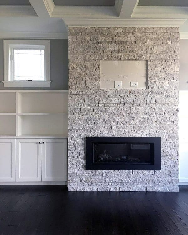 White Stone Modern Fireplace Design