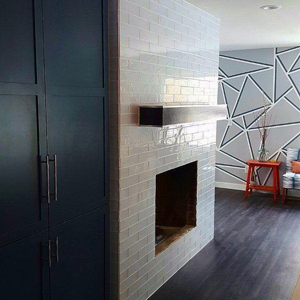 White Subway Fireplace Tile Ideas