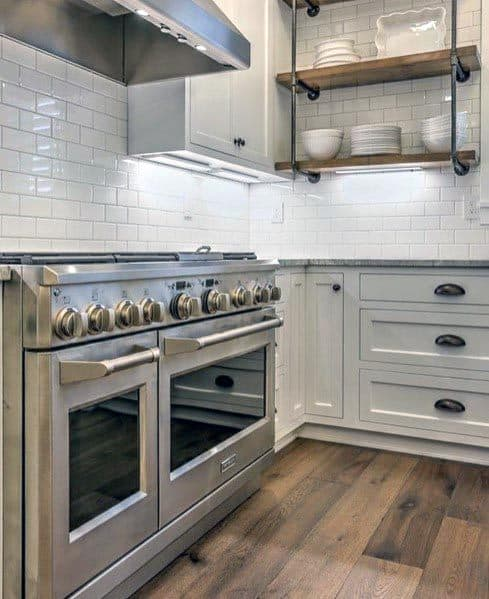 White Subway Tile Backsplash With White Kitchen Cabinets