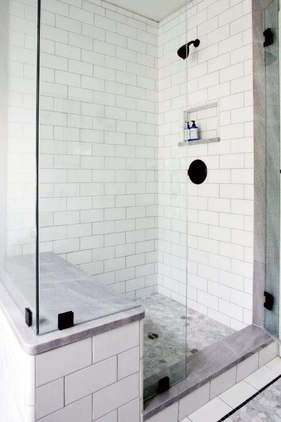 White Subway Tile Shower Bench Ideas Inspiration