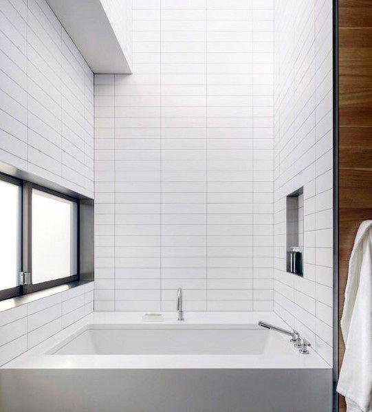 White Subway Tile Sleek Bathtub Surround Design Ideas