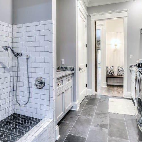 White Subway Tile With Black Shower Floor Home Dog Wash Station Ideas