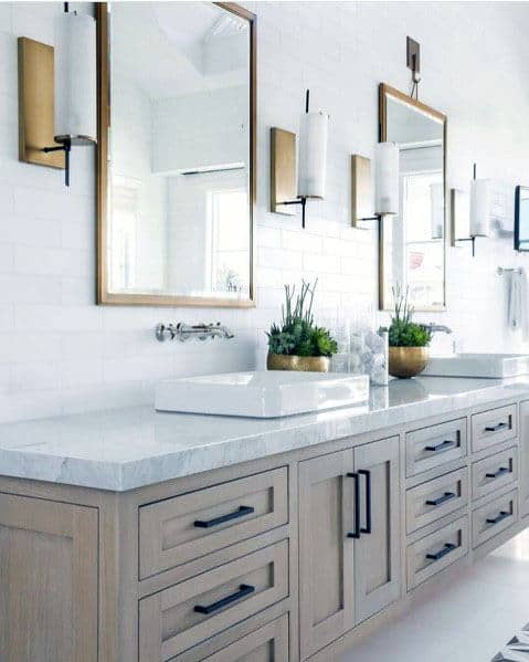 White Subway Tile With Brass Accents On Wall Bathroom Backsplash Ideas