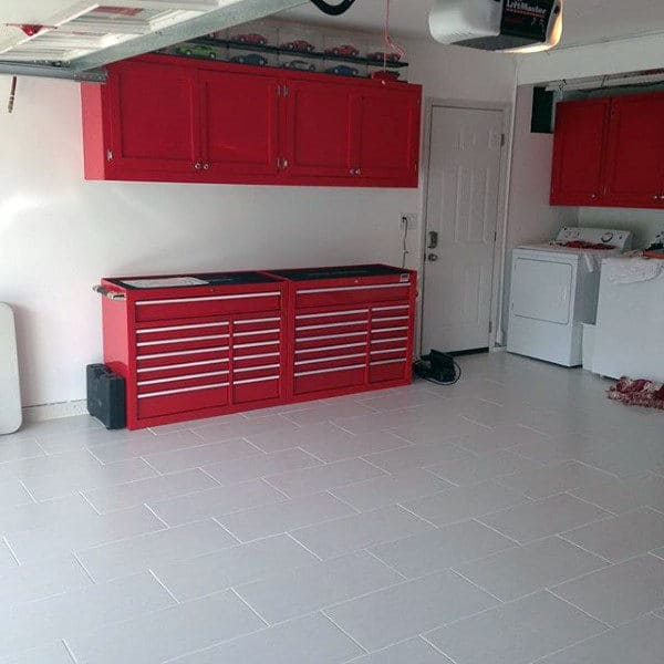 White Tile Garage Flooring
