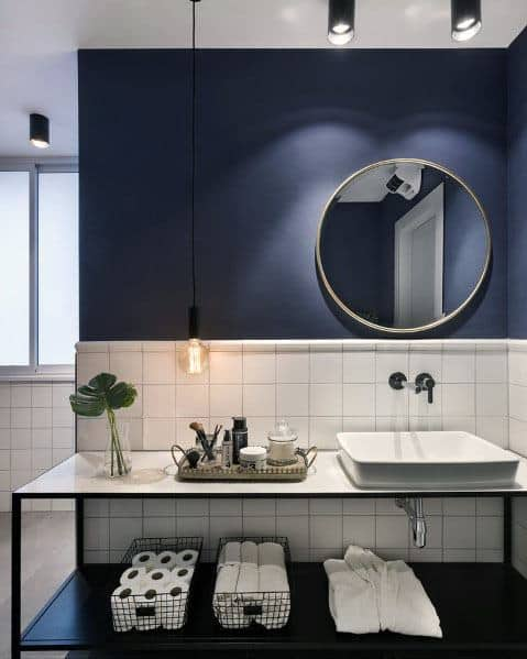 White Tile With Blue Paint Bathroom Idea Inspiration