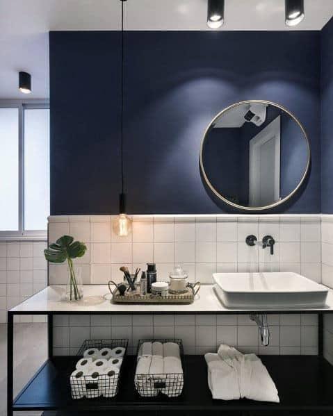 White Tile With Blue Paint Bathroom Idea Inspiration