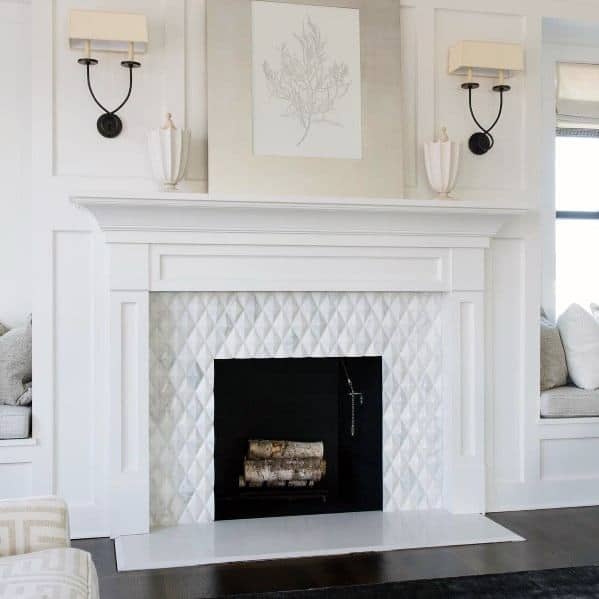 White Tiled Fireplaces Designs