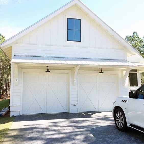 White Traditional Detached Garage Ideas