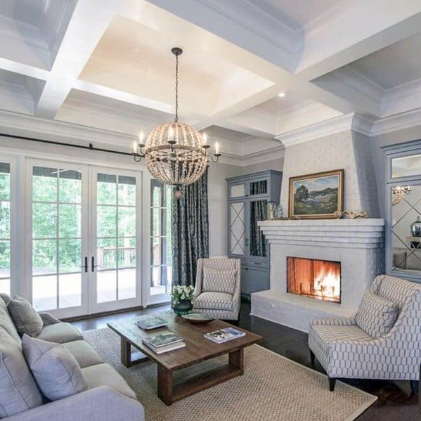 White Traditional Home Coffered Ceiling Ideas