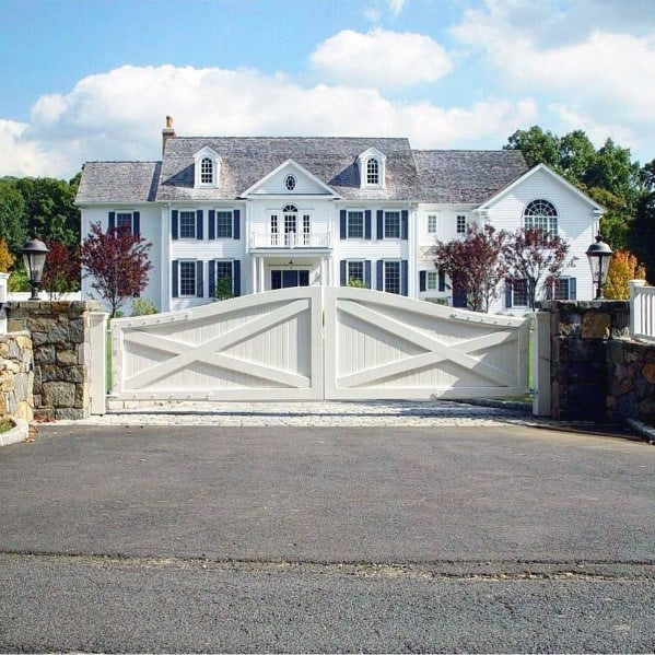 White Traditional Home Gate Ideas