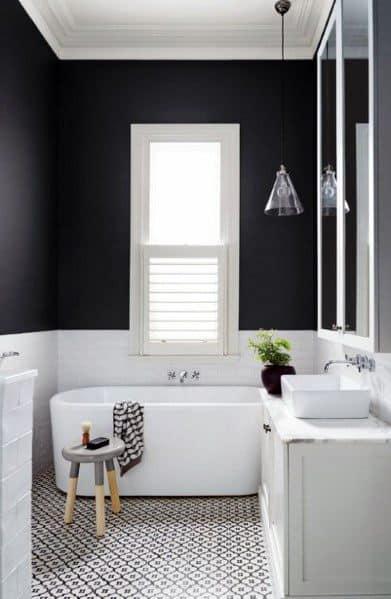 White Tub Tile Floors Black Bathroom Interior Design
