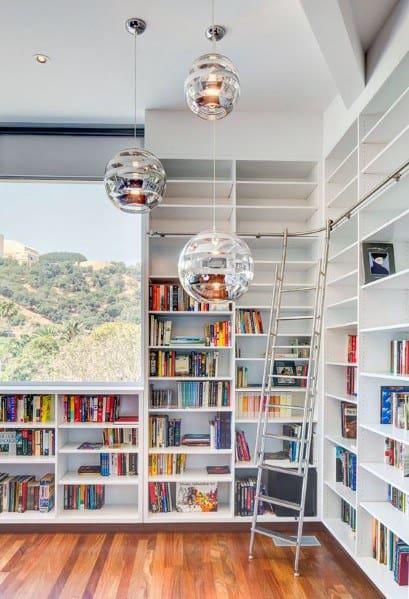 White Two Story Good Ideas For Floor To Ceiling Bookshelves