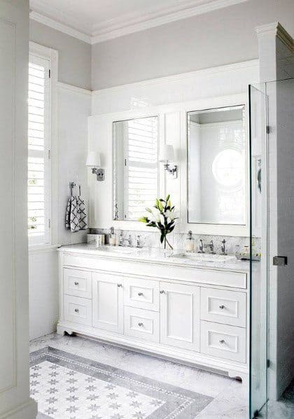White Vanity And Off White Wall Color Paint Bathroom Ideas
