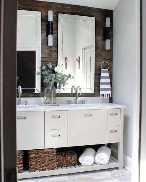 White Vanity Rustic Bathroom Ideas