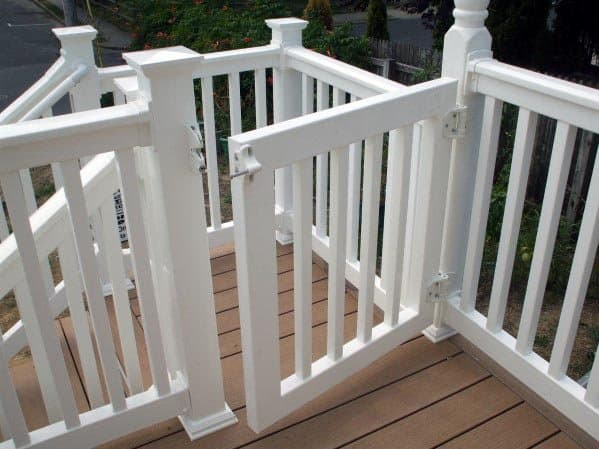 White Vinyl Backyard Designs Deck Gate