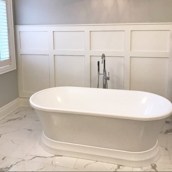 White Wainscoting Ideas Bathroom Around Bath Tub