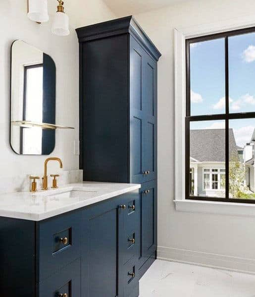 White Walls With Blue Bathroom Vanity Design Ideas