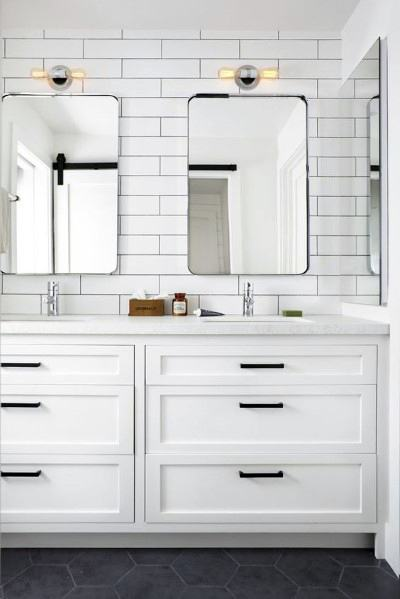 White With Black Hardware Luxury Bathroom Vanity