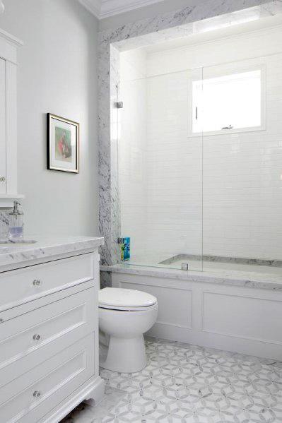 White With Marble Surround Bathtub Tile Ideas