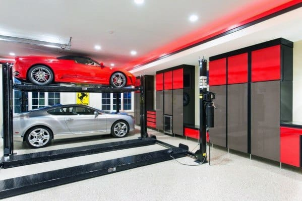 White With Red Led Border Garage Ceiling Ideas