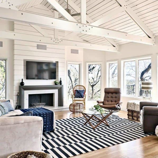 White Wood Beams Vaulted Ceiling Home Designs