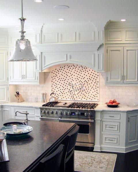 White Wood Ornate Kitchen Hood Ideas