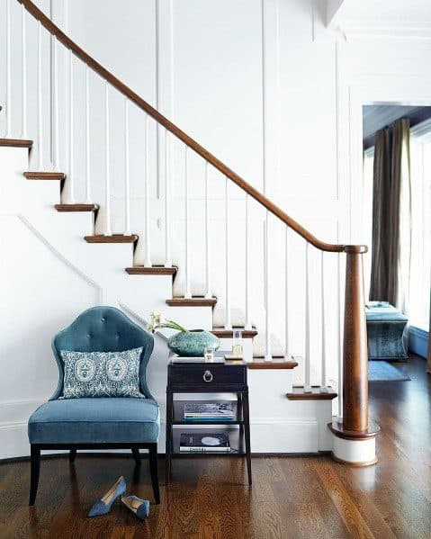 White Wood Stairs Traditional Home Idea Inspiration