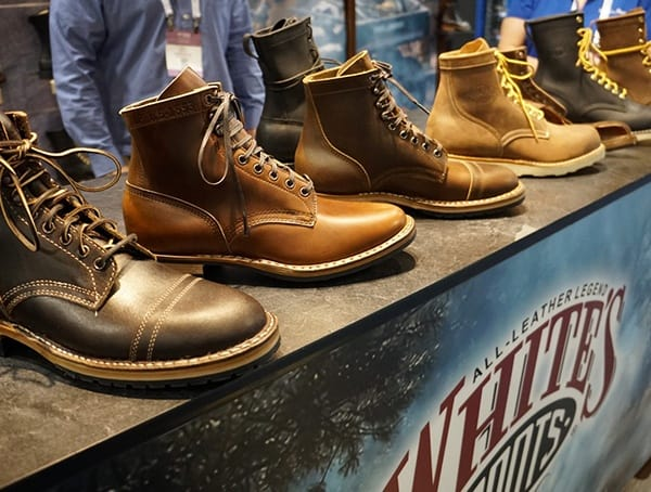 Whites Leather Mens Boots Display At Outdoor Retailer Winter Market 2018
