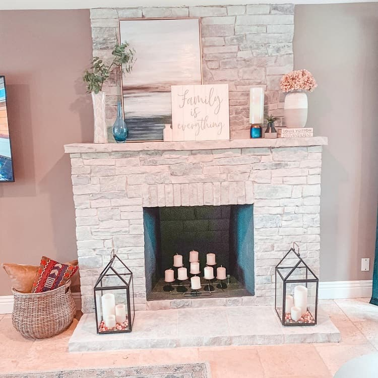 Whitewashed Fireplace Mantel Decor Cassiefrenchdesigns