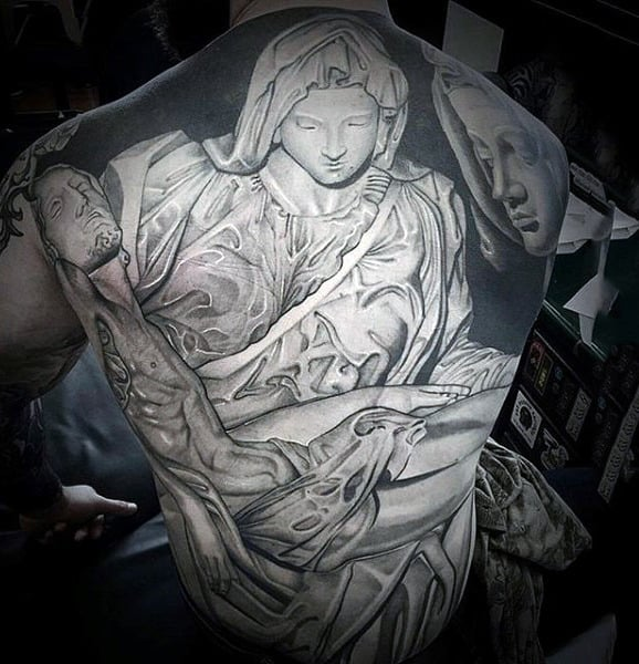 Whitish Inked Grace Of Angelic Presense Tattoo Male Full Back