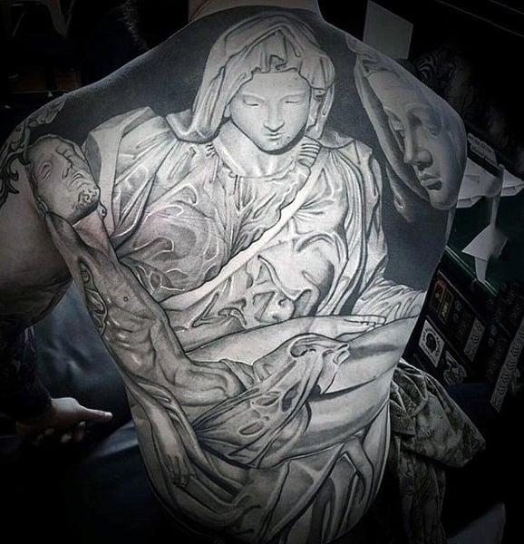 Whitish Inked Grace Of Angelic Presense Tattoo Male Full Back
