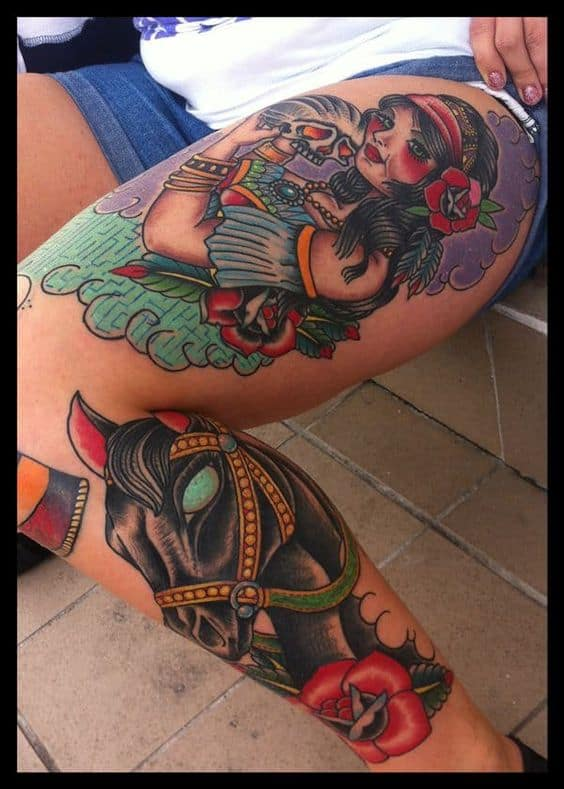 Whole Leg Gypsy Tattoo