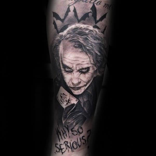 Why So Serious Joker Crown Mens Sleeve Tattoos