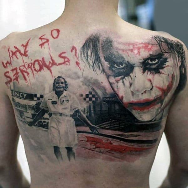 Why So Serious Mens Batman Back Tattoos