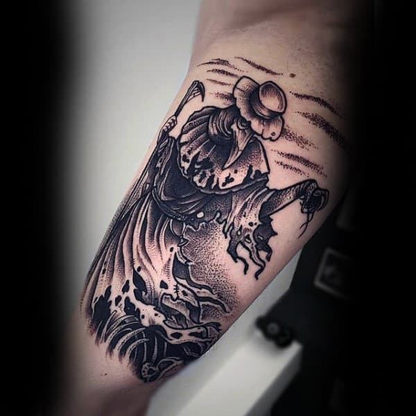 Wicked Dotwork Witch Tattoo On Male Arms