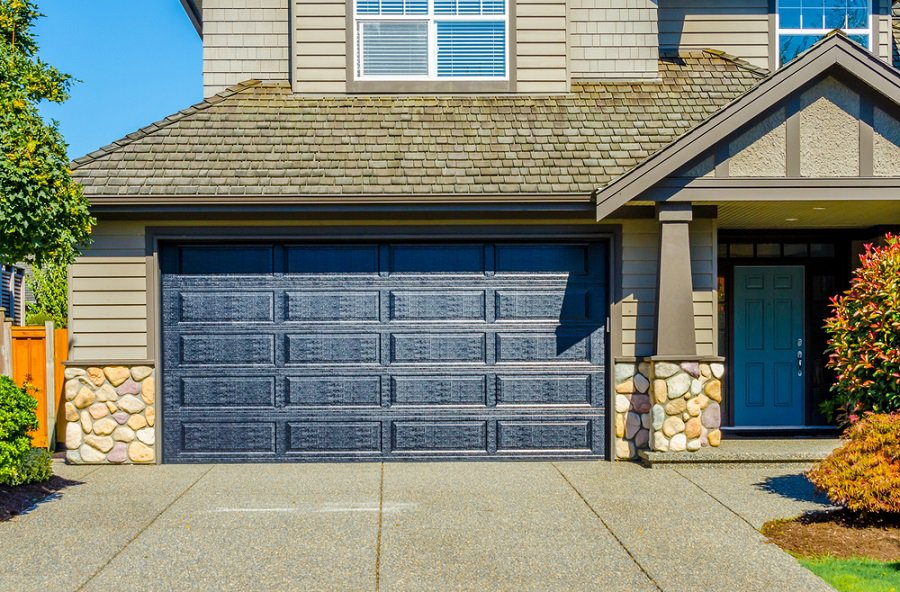 White Double Window Garage Door Ideas
