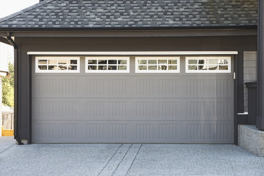 Wood Double Window Garage Door Design Ideas