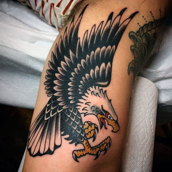 Wide Spreaded Wings Bald Eagle Tattoo Mens Forearms