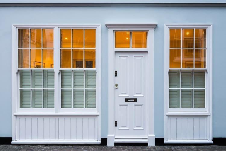 Wide White Exterior Window Trim Crown Molding