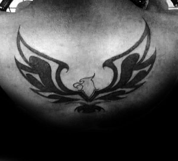 Wide Wings Tribal Eagle Guys Back Tattoos