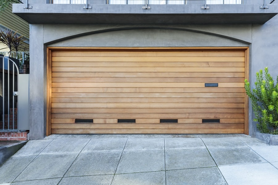 Wood Garage Door Ideas With Glass Windows