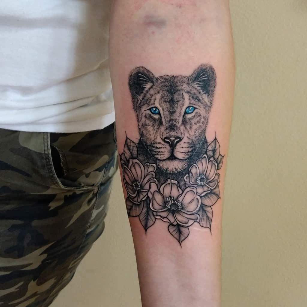 Wild Animals Dot Work Lioness Tattoo