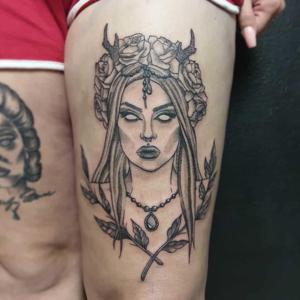 Wild Girl Whip Shading Black Fairy Tattoo