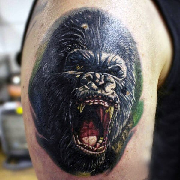 Wild Gorilla Mens Tattoo On Upper Arm