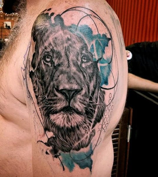 Wild Lion Watercolor Tattoo On Arms For Guys
