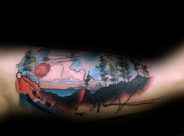 Wilderness Colorado Mens Inner Arm Bicep Tattoos